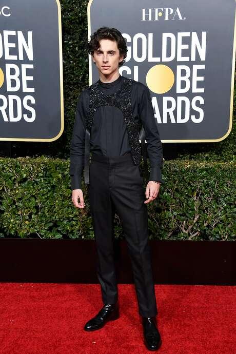 """Beautiful Boy"" Timothée Chalamet wears Louis Vuitton and a sparkling black harness by Virgil Abloh. Photo: Frazer Harrison / Getty Images"