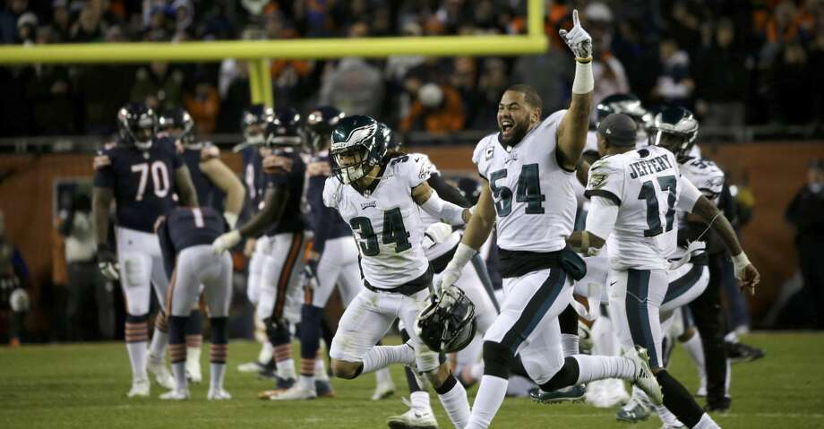 Philadelphia Eagles players celebrate after Chicago Bears kicker Cody Parkey misses a field goal in the final minute during the second half of an NFL wild-card playoff football game Sunday, Jan. 6, 2019, in Chicago. The Eagles won 16-15. (AP Photo/David Banks) Photo: David Banks/Associated Press