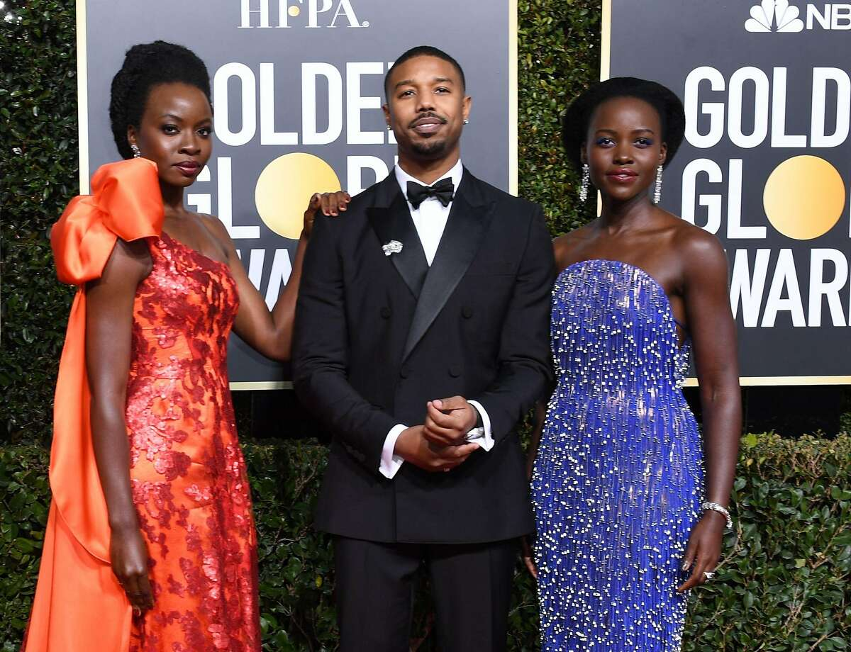 Actress Lupita Nyong'o, Actor Michael B. Jordan and Actress Danai Gurira arrive for the 76th annual Golden Globe Awards on January 6, 2019, at the Beverly Hilton hotel in Beverly Hills, California.