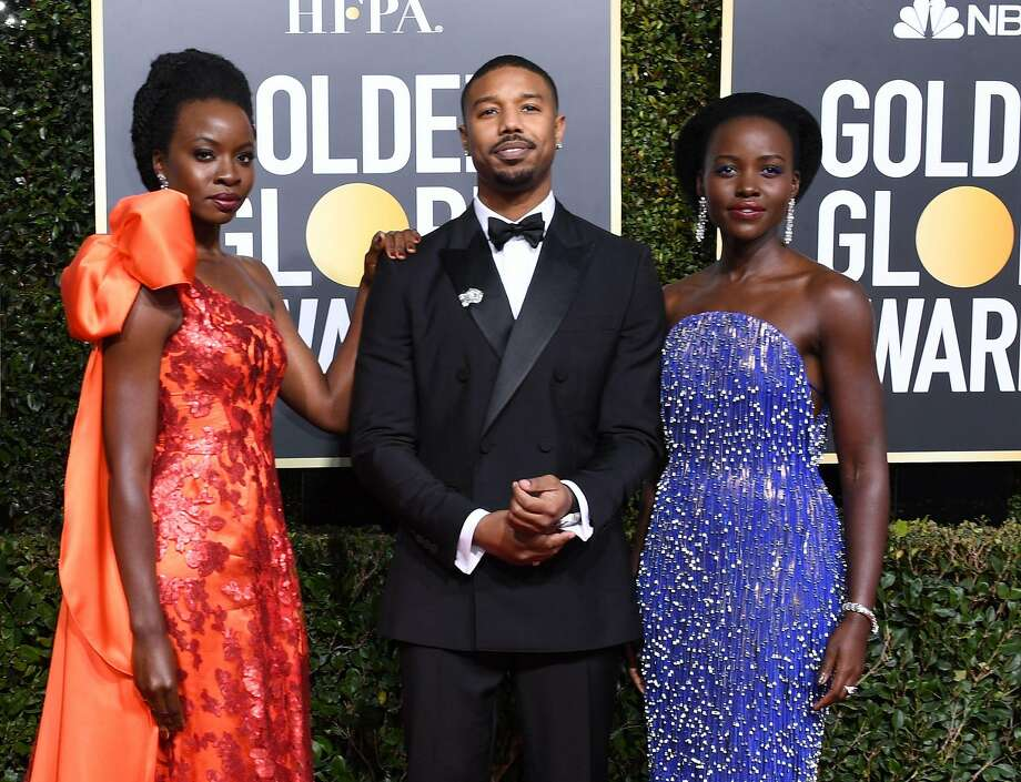 Actress Lupita Nyong'o, Actor Michael B. Jordan and Actress Danai Gurira arrive for the 76th annual Golden Globe Awards on January 6, 2019, at the Beverly Hilton hotel in Beverly Hills, California.  Photo: VALERIE MACON, AFP/Getty Images