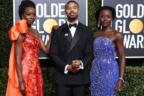 (FromR) Actress Lupita Nyong'o, Actor Michael B. Jordan and Actress Danai Gurira arrive for the 76th annual Golden Globe Awards on January 6, 2019, at the Beverly Hilton hotel in Beverly Hills, California. (Photo by VALERIE MACON / AFP)VALERIE MACON/AFP/Getty Images