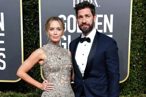 BEVERLY HILLS, CA - JANUARY 06: Emily Blunt (L) and John Krasinski attend the 76th Annual Golden Globe Awards at The Beverly Hilton Hotel on January 6, 2019 in Beverly Hills, California.