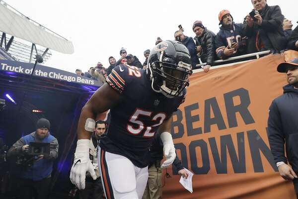 c172e7bbbfc 2of8Chicago Bears outside linebacker Khalil Mack (52) runs to the field  before an NFL wild-card playoff football game against the Philadelphia  Eagles Sunday ...