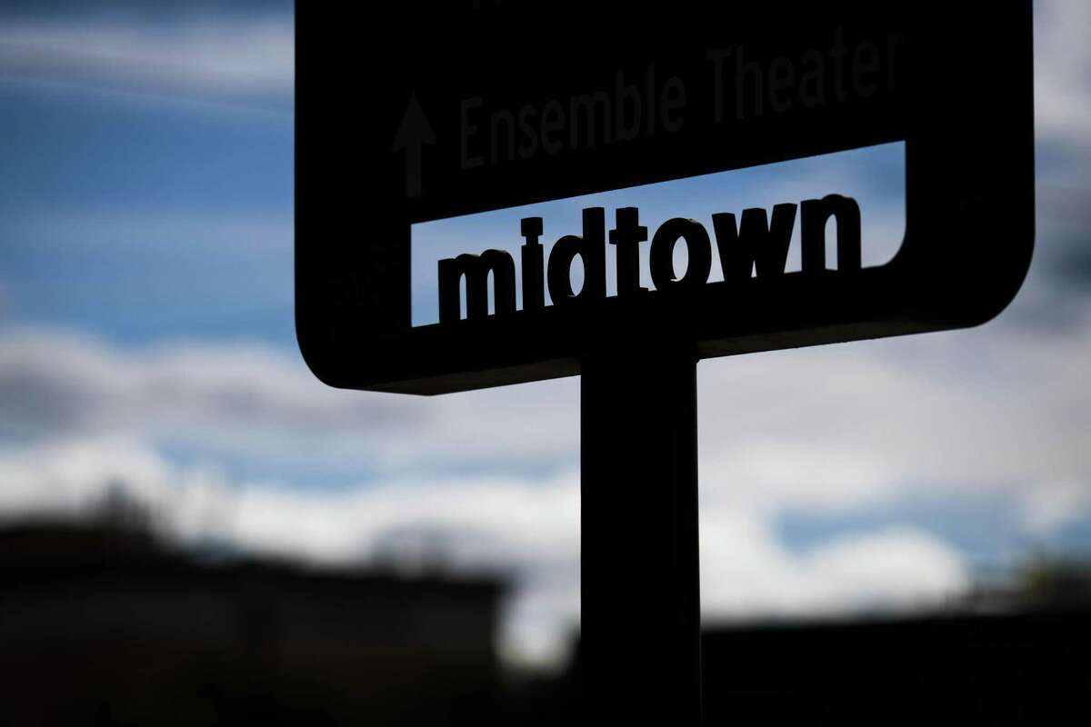 Silhouette of a Midtown sign on the Midtown Park, Sunday, Jan. 6, 2019, in Houston.