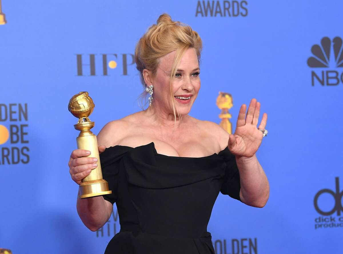 BEVERLY HILLS, CA - JANUARY 06: Best Performance by an Actress in a Limited Series or Motion Picture Made for Television for 'Escape at Dannemora' winner Patricia Arquette poses with the trophy in the press room during the 76th Annual Golden Globe Awards at The Beverly Hilton Hotel on January 6, 2019 in Beverly Hills, California. (Photo by Kevin Winter/Getty Images)