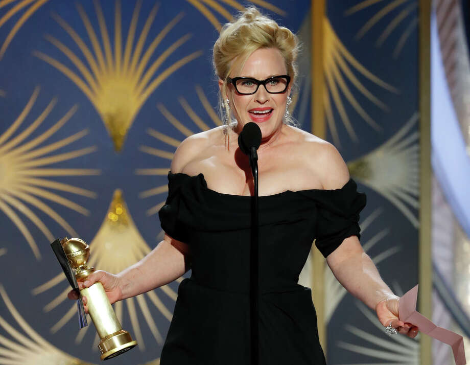 "This image released by NBC shows Patricia Arquette accepting the award for best actress in a limited series or motion picture made for TV for her role in ""Escape at Dannemora"" during the 76th Annual Golden Globe Awards at the Beverly Hilton Hotel on Sunday, Jan. 6, 2019 in Beverly Hills, Calif. (Paul Drinkwater/NBC via AP) Photo: Paul Drinkwater, Associated Press / 2019 NBCUniversal Media, LLC"