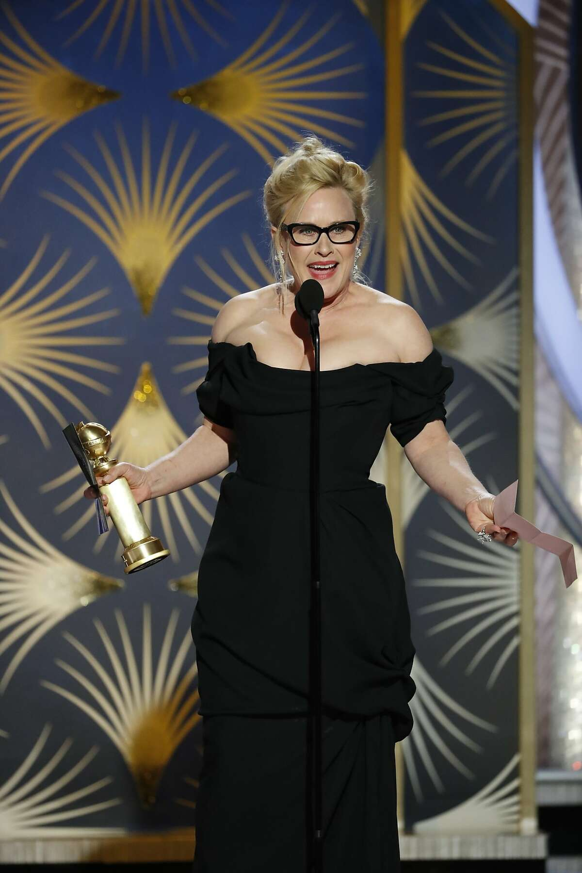 BEVERLY HILLS, CALIFORNIA - JANUARY 06: In this handout photo provided by NBCUniversal, Patricia Arquette from Escape at Dannemora accepts the Best Performance by an Actress in a Limited Series or Motion Picture Made for Television award onstage during the 76th Annual Golden Globe Awards at The Beverly Hilton Hotel on January 06, 2019 in Beverly Hills, California. (Photo by Paul Drinkwater/NBCUniversal via Getty Images)