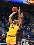 Cal Forward Kristine Anigwe goes up for a shot against USC during a Pac-12 Women's basketball game at Haas Pavillon in Berkeley, Calif.