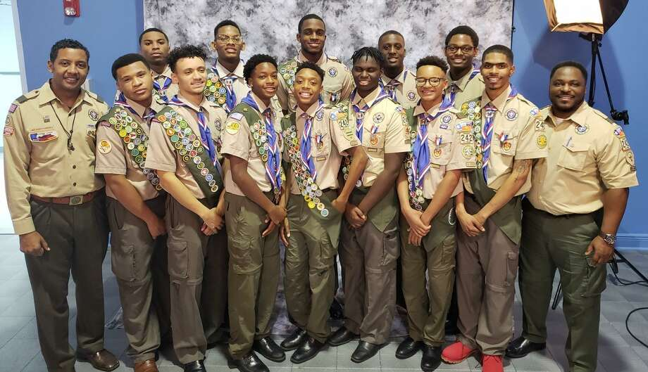 Twelve scouts from Troop 242 were promoted to the rank of Eagle Scout on Jan. 5, 2019: Shane Bennett, Dameion Crook, Dylan Gaines, Kyle Gaines, Chandler Green, Daniel Hinton, Marshall Hudson, Marcellus Jordan, Eron Lord, Eric Sims, Asa Singleton and Benjamin White. Photo: Troop 242