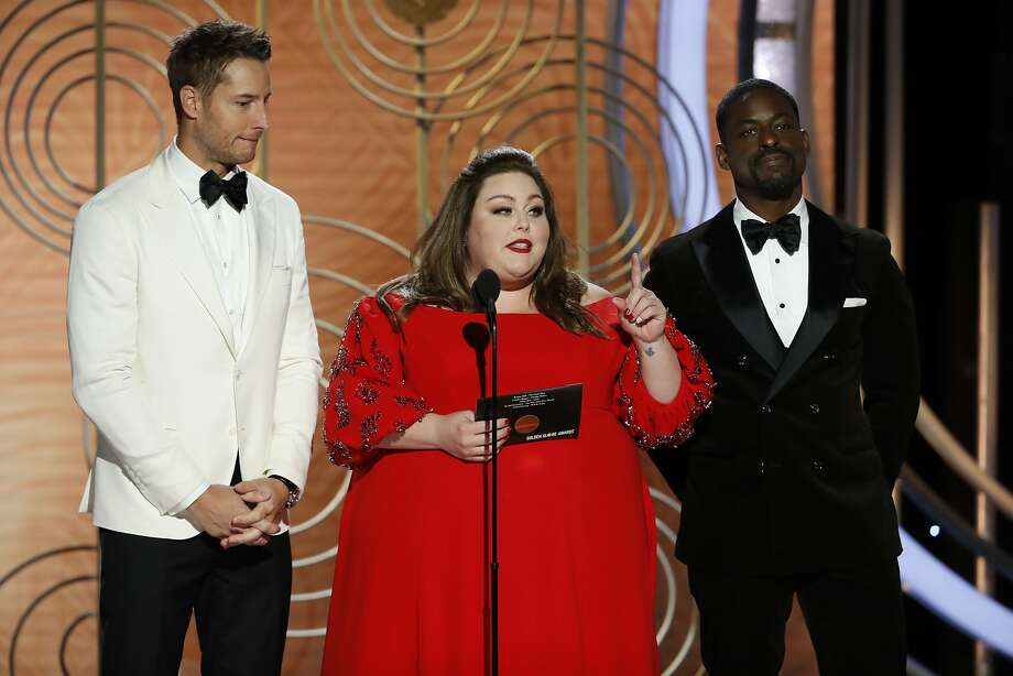 BEVERLY HILLS, CALIFORNIA - JANUARY 06: In this handout photo provided by NBCUniversal, pRESENTERS Justin Hartley, Chrissy Metz and Sterling K. Brown speak onstage during the 76th Annual Golden Globe Awards at The Beverly Hilton Hotel on January 06, 2019 in Beverly Hills, California.  (Photo by Paul Drinkwater/NBCUniversal via Getty Images) Photo: Handout, NBCUniversal Via Getty Images