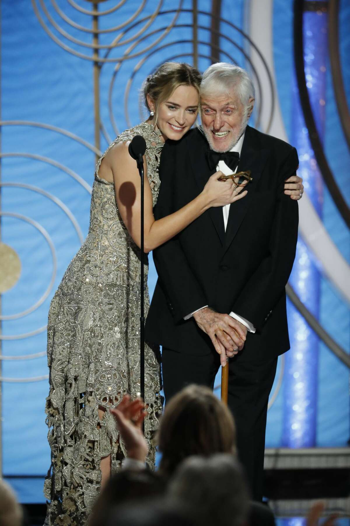 Emily Blunt and Dick Van Dyke at the 76th Annual Golden Globe Awards held at the Beverly Hilton Hotel on January 6, 2019.