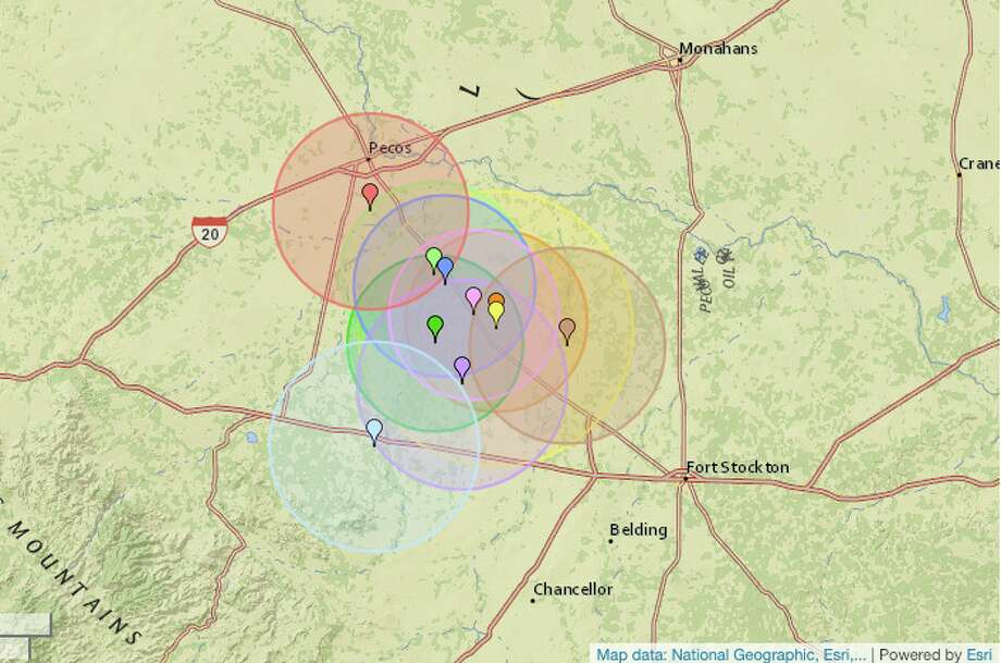 The most quakes again took place around Pecos, according to the website, which reported just more than 40 each year. These are location pins of the most recent quakes reported. Photo: Earthquaketrack.com