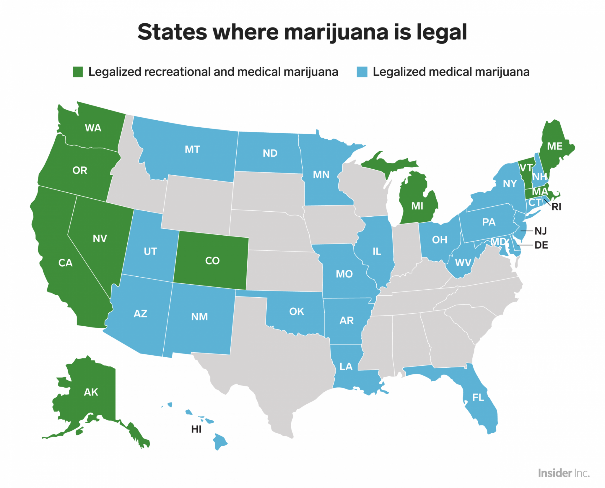 Connecticut In Us Map.This Map Shows Every Us State Where Pot Is Legal San Antonio