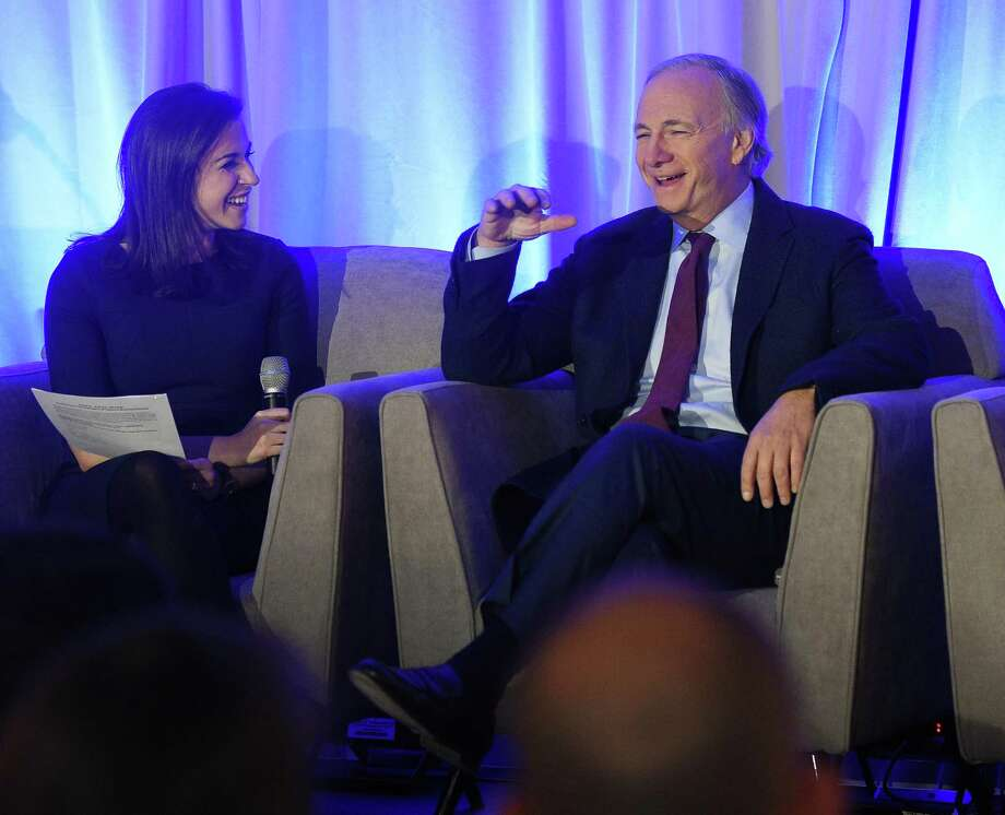 Bridgewater Associates founder Ray Dalio beside Leslie Picker of CNBC, in November 2018 at the Greenwich Economic Forum in Greenwich, Conn. Photo: Tyler Sizemore / Hearst Connecticut Media / Greenwich Time
