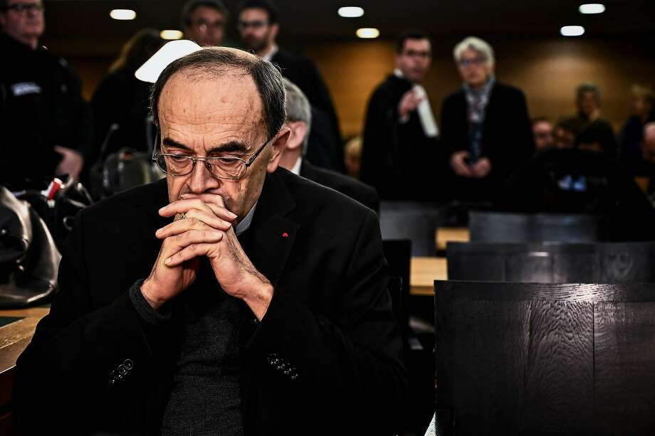 Cardinal Philippe Barbarin awaits court proceedings in Lyon. He is accused of covering up for a pedophile priest who preyed on Boy Scouts. Barbarin maintains his innocence. Photo: Jeff Pachoud / AFP / Getty Images