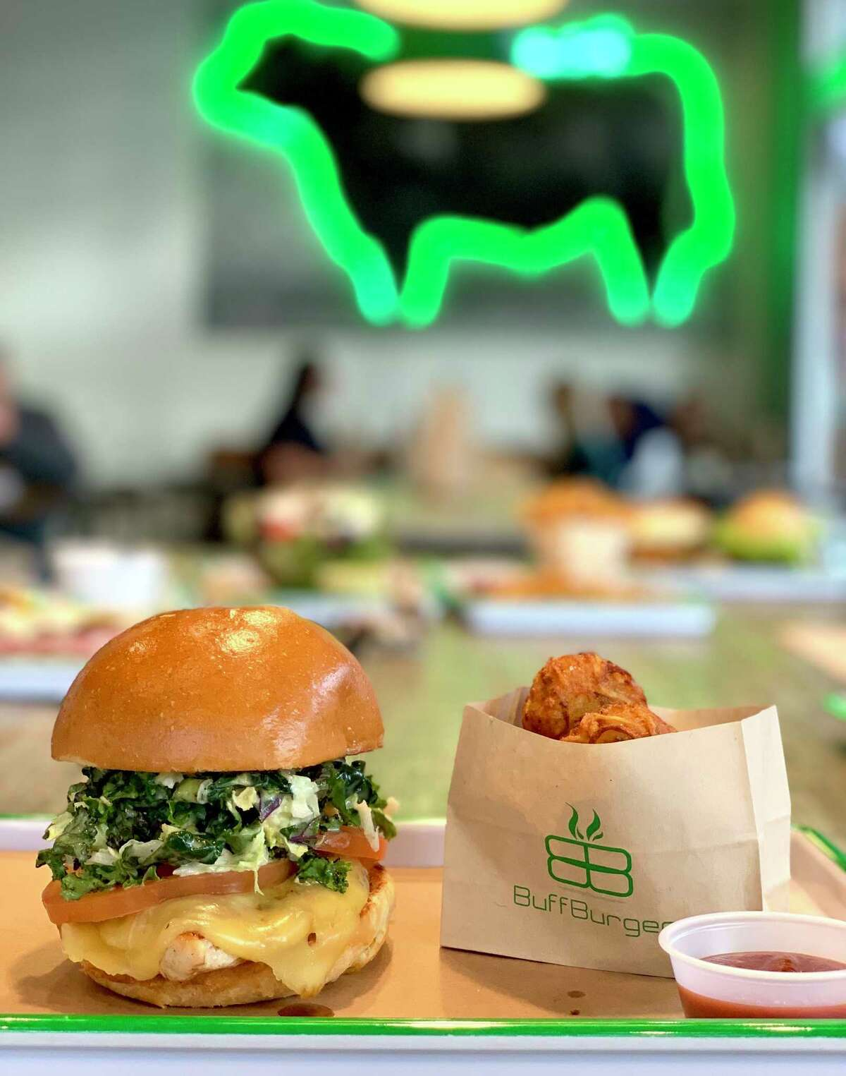 The Momo burger (grilled or buttermilk fried chicken with honey mustard kale slaw) at BuffBurger.