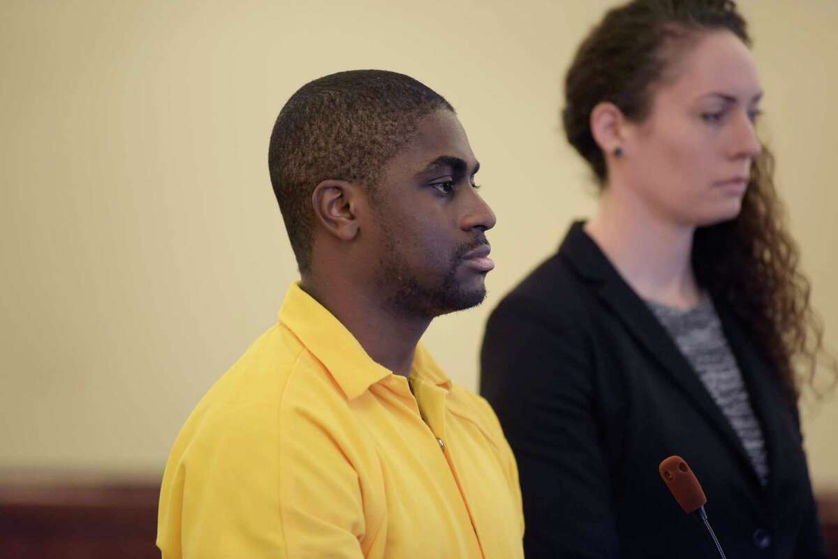 Shaquille Owens, right, appears in court with his attorney, Angela Kelley, for his plea bargain for the killing of Joseph Davis on Monday, Jan. 7, 2019, in Albany, N.Y. (Paul Buckowski/Times Union)