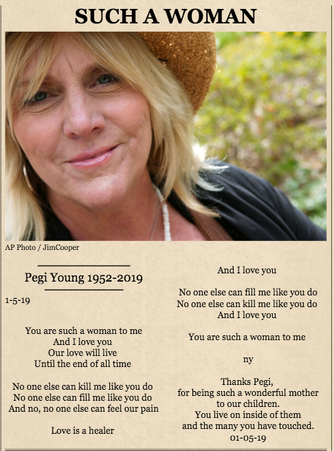 Neil Young shares tribute to late ex-wife Pegi Young with ...  Neil Young shar...