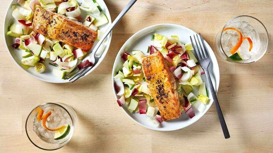 Honey Mustard Glazed Salmon With Endive and Green Apple Salad Photo: Stacy Zarin Goldberg, The Washington Post / The Washington Post / The Washington Post