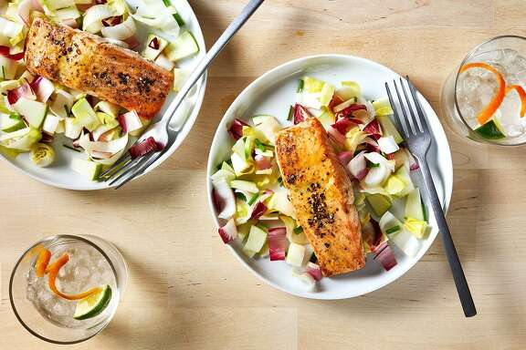 Honey Mustard Glazed Salmon With Endive and Green Apple Salad