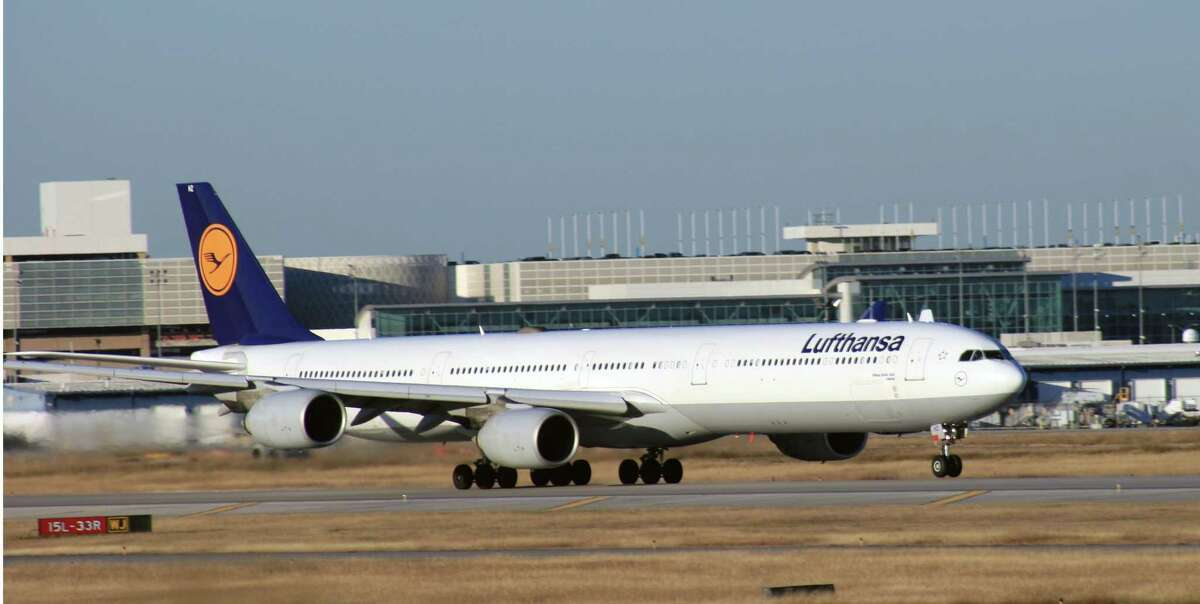 A Lufthansa Airbus A340 departs from Bush Intercontinental Airport.