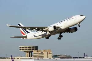 An Air France Airbus A330 begins its journey to Paris from Bush Intercontinental Airport in January 2019.
