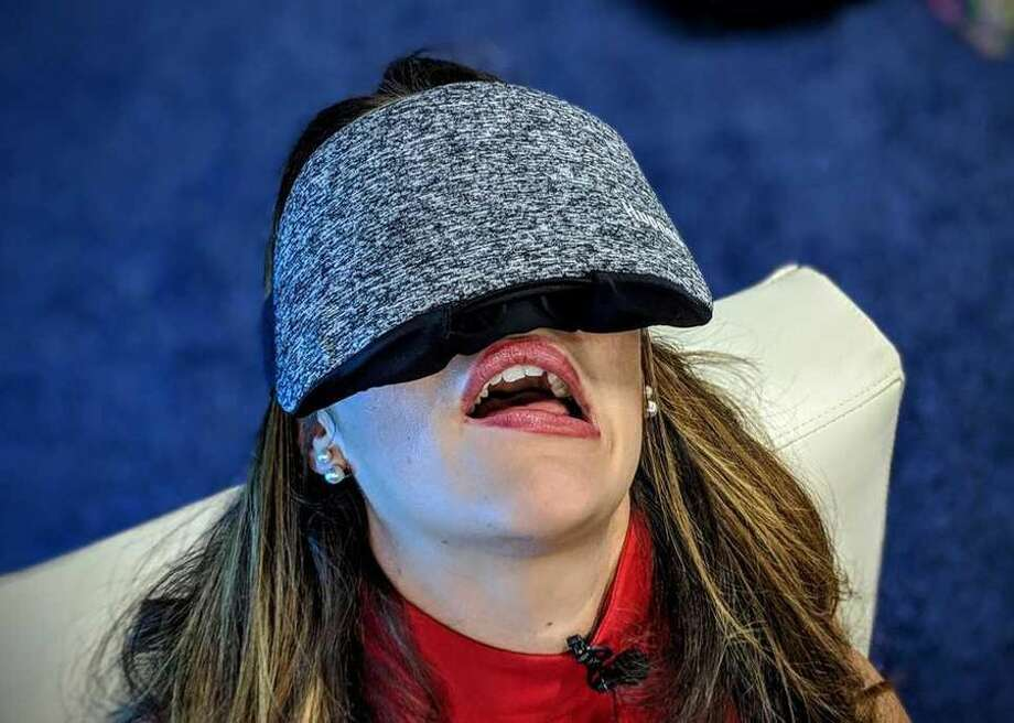 More than just an oversized eye mask, the Hupnos sleep mask will vibrate to encourage a snoring sleeper to move to a different position. Photo: CBSI/CNET