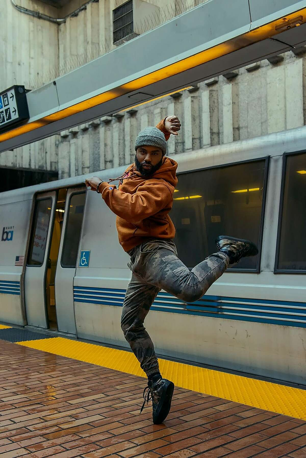 """An image styled by Carlie Louise Williams for a City College of San Francisco project titled """"Movement in the City."""" The model is Thomas Demauriea Goward, with makeup by artist Imani Goodwin."""