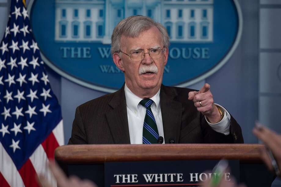 (FILES) In this file photo taken on November 27, 2018, US National Security Advisor John Bolton speaks at a press briefing at the White House in Washington, DC. - US national security advisor John Bolton said Friday, December 28, 2018 he would visit Turkey and Israel to coordinate on Syria, after President Donald Trump's decision to withdraw all US forces. Bolton said he would head in January to both Turkey -- which has enthusiastically backed Trump's sudden move -- as well as Israel, a close US ally where the pullout has caused concern. (Photo by NICHOLAS KAMM / AFP)NICHOLAS KAMM/AFP/Getty Images Photo: NICHOLAS KAMM;Nicholas Kamm / AFP / Getty Images