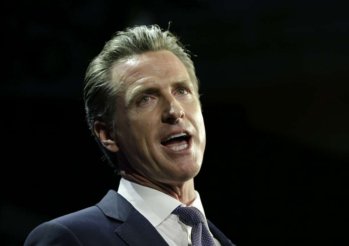 FILE - In this Nov. 6, 2018 file photo, Lt. Gov Gavin Newsom, a Democrat, addresses an election night crowd, in Los Angeles, after he defeated Republican John Cox to become the 40th governor of California. Newsom, will be sworn-in to office Jan. 7, 2019, will work with a Legislature firmly gripped by Democrats. (AP Photo/Rich Pedroncelli, File)