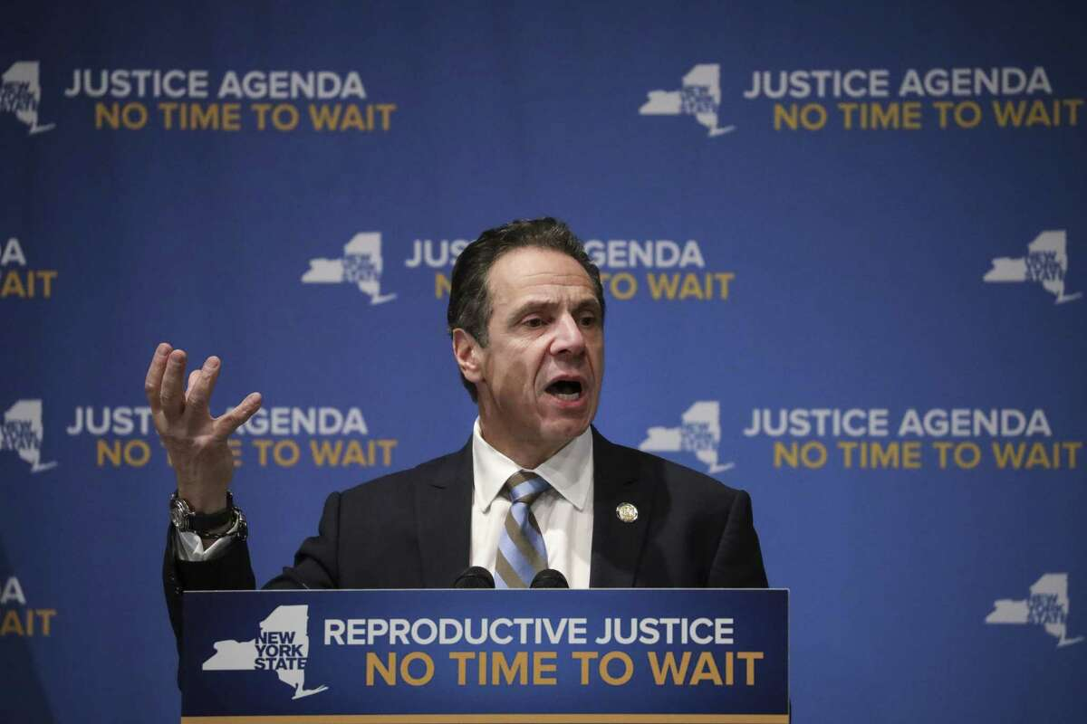 NEW YORK, NY - JANUARY 7: New York Governor Andrew Cuomo speaks about reproductive rights at Barnard College, January 7, 2019 in New York City.