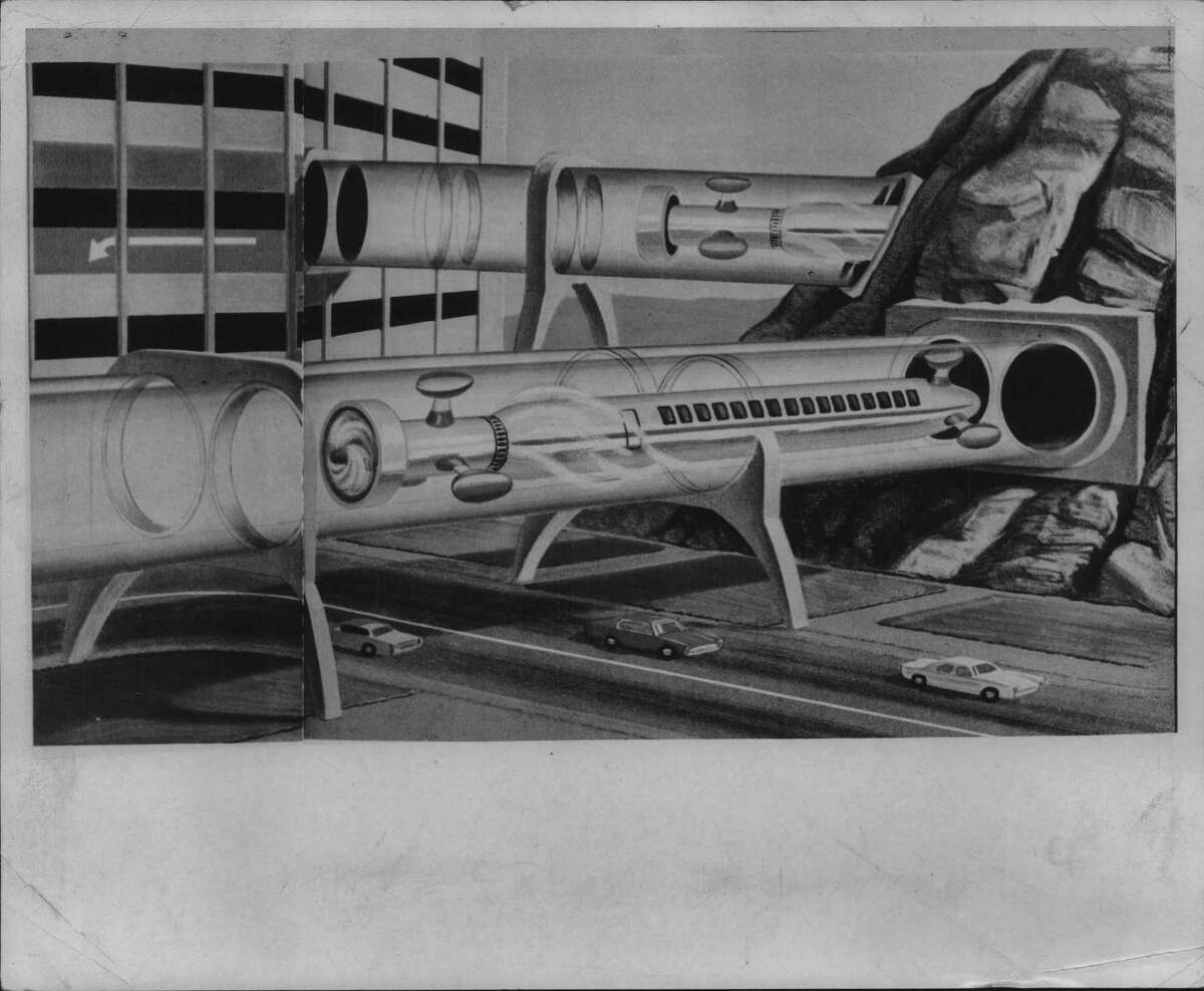 This Rensselaer Polytechnic Institute artist's sketch from June 1966 shows futuristic commuter train in New York. Click through the slideshow to see what upstate train travel actually looked like in the 20th century.