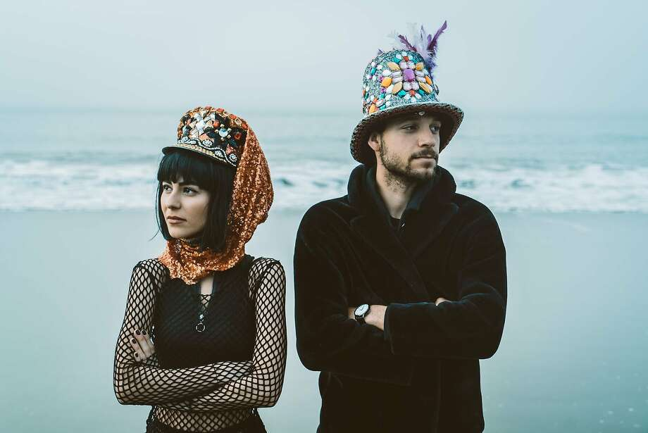 """An image styled by Yeliz Deniz for a City College of San Francisco project titled """"Burning Man"""" with herself and Ken McAleese as models shot on Baker Beach. Photo: Anna Katarina"""