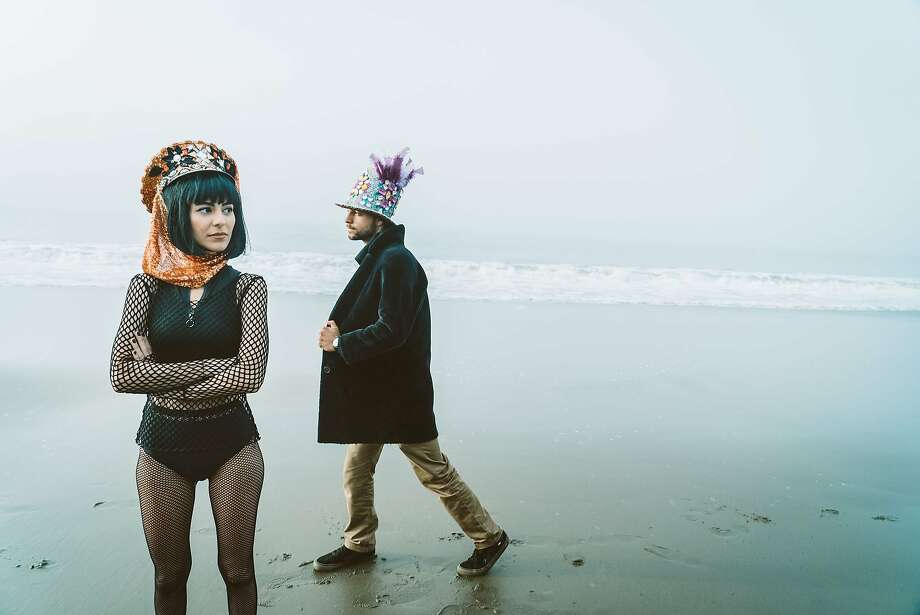 """An image, titled """"Burning Man Style"""" was styled by Yeliz Deniz for a City College of San Francisco project. Deniz modeled with Ken McAleese on Baker Beach in S.F., the site of the first Burning Man ritual in 1986. Photo: Anna Katarina"""