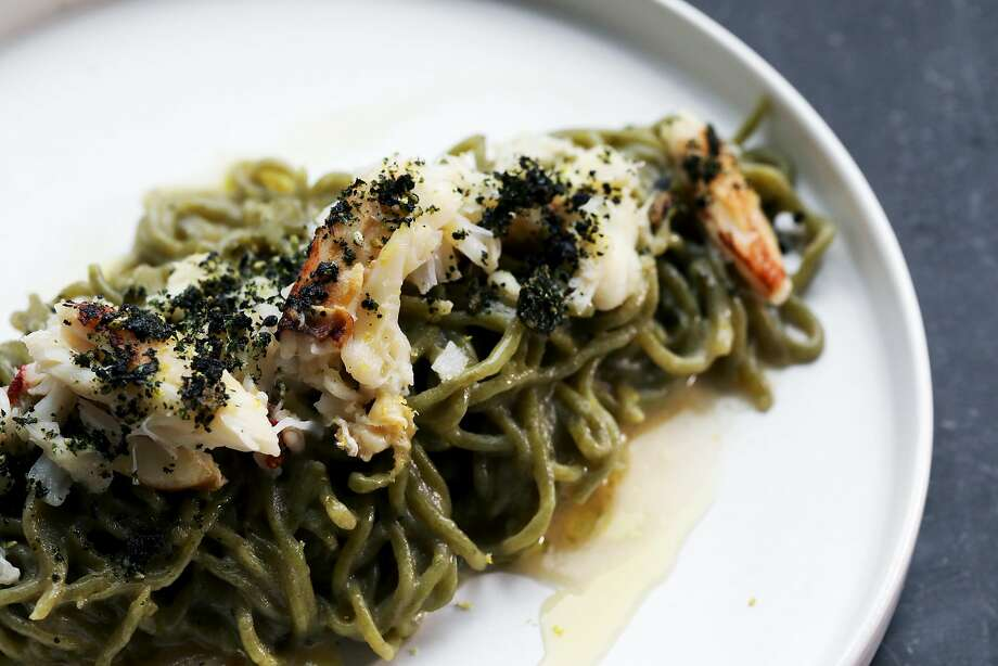 Ayala's stellar nori spaghettini ($29) includes Dungeness crab and is dressed in white miso. Photo: Yalonda M. James / The Chronicle