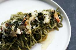 The Nori Spaghetti at Ayala includes Dungeness crab, white miso, Buddha's Hand, and Furikake in San Francisco, Calif., on Saturday, January 5, 2019. The new restaurant is located at 398 Geary St., near Union Square.