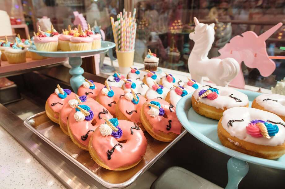 "Houstonians can expect to find a unicorn wonderland adorned with ""pink everything, butterflies, flowers and clouds,"" on a first visit to the dessert bar. Unicorn-decorated cakes, cake pops, macaroons, ice cream, pink hot chocolate and even a chocolate fountain are all on the menu for the Houston location. Photo: Courtesy Unicorn Magical Dessert Bar"