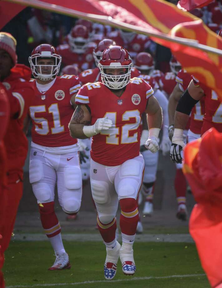 c4fc07e0f8 UConn alum Anthony Sherman (42) and the Chiefs host the Colts on Saturday.