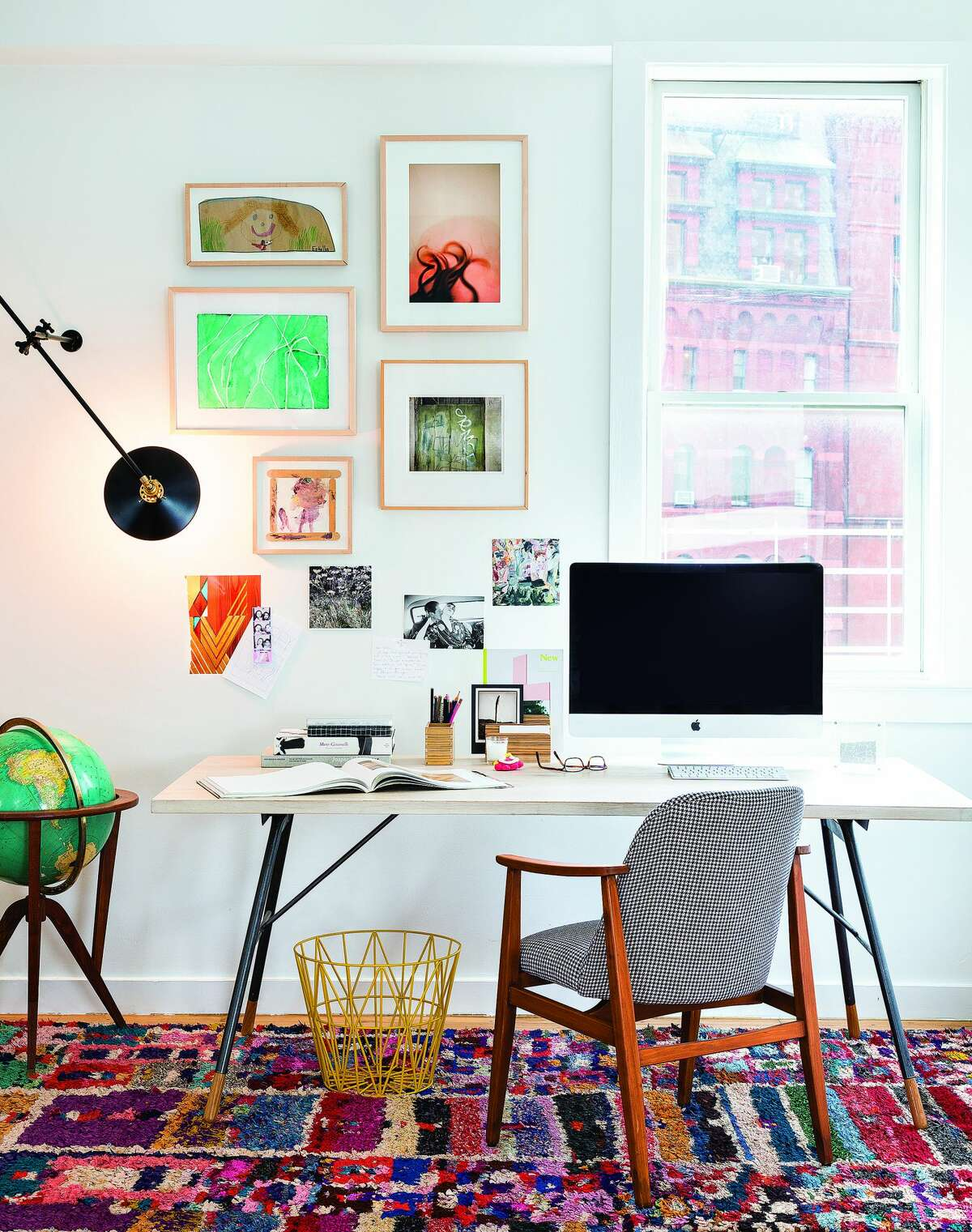 To make a desk or home office more functional, make sure you have good lighting, room for a computer and other things, and containers for holding pencils or other things you use. And don't forget the wastebasket. Computers may make for paperless work, but we somehow still have plenty of things to throw away.