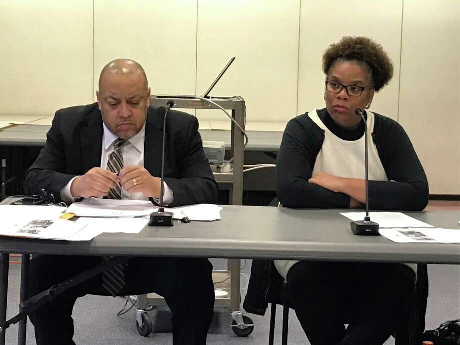 New Haven Board of Education President Darnell Goldson, left, and Secretary Tamiko Jackson-McArthur at Monday Finance and Operations Committee meeting. Photo: Brian Zahn / Hearst Connecticut Media