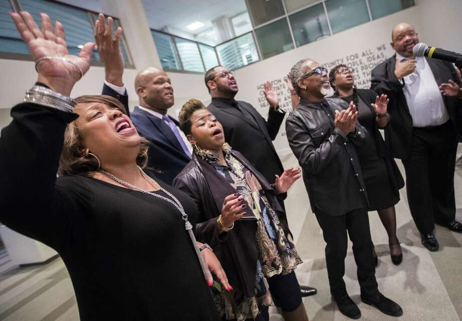 V. Michael McKay and the Worshipers perform at a press conference on Monday organized at Houston City Hall in relation to this year's Martin Luther King Jr.'s parade, Jan. 7, 2019, in Houston. Photo: Marie D. De Jesús, Houston Chronicle / Staff Photographer / © 2019 Houston Chronicle