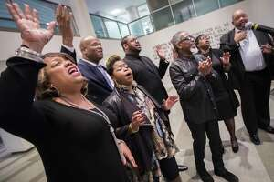 V. Michael McKay and the Worshipers perform at a press conference on Monday organized at Houston City Hall in relation to this year's Martin Luther King Jr.'s parade, Jan. 7, 2019, in Houston.