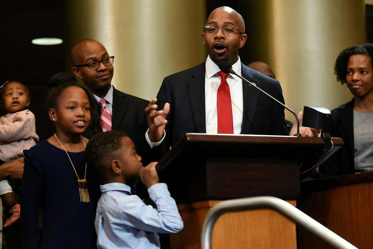 Oakland City Council member Loren Taylor gives a speech at City Hall on January 7, 2019.