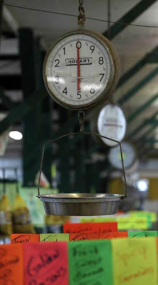 Detail of an old produce scale inside of Canino Produce, the 60-year-old Heights-area produce and nut market, Monday, Jan. 7, 2019, in the Heights in Houston. Canino Produce is closing at the end of the month. Photo: Karen Warren, Houston Chronicle / Staff Photographer / © 2019 Houston Chronicle