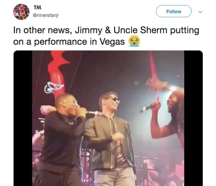 Sang onstage with Nelly, Richard Sherman and George Kittle in Las VegasDuring a Las Vegas event in January, rapper Nelly invited Garoppolo and his 49ers teammates Richard Sherman and George Kittle to join him on stage and sing Montell Jordan's