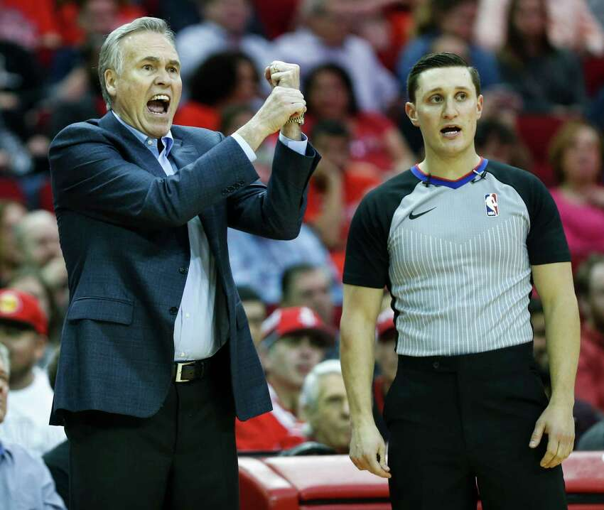 Houston Rockets head coach Mike D'Antoni argues a call during the first half of an NBA basketball game against the Denver Nuggets at Toyota Center on Monday, Jan. 7, 2019, in Houston.