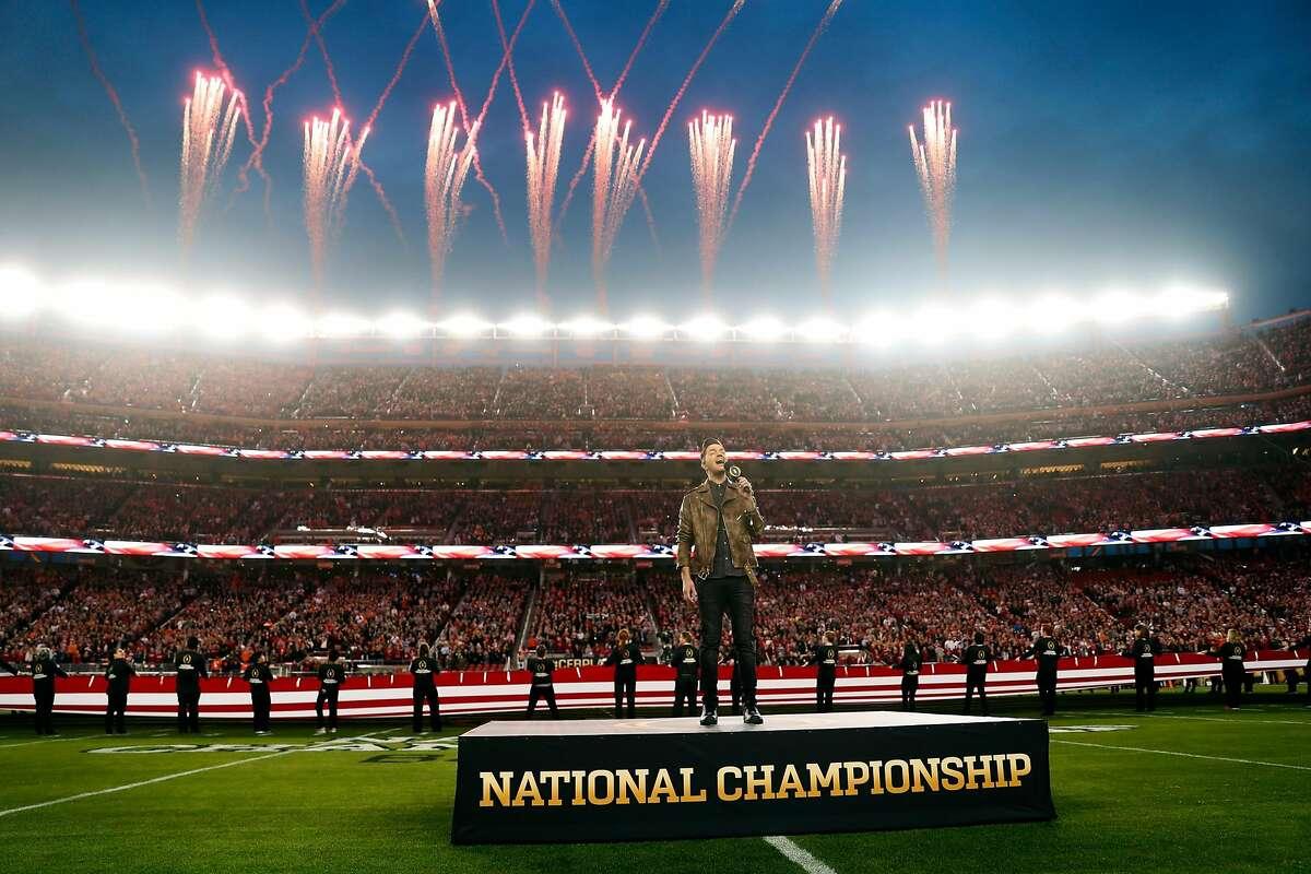 Andy Grammar sings National Anthem before Alabama plays Clemson during College Football Playoff championship game at Levi's Stadium in Santa Clara, Calif. on Monday, January 7, 2019.