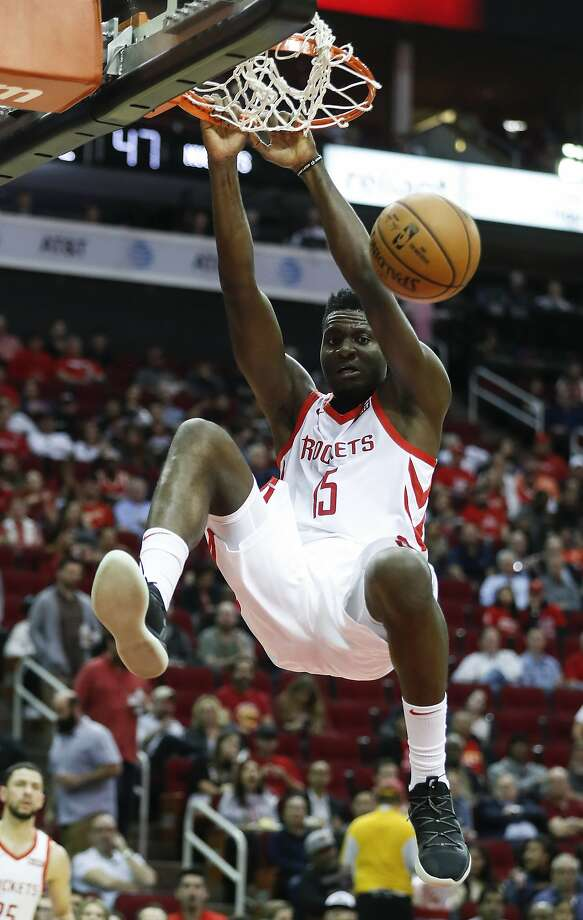 Houston Rockets center Clint Capela (15) dunks against the Denver Nuggets during the first half of an NBA basketball game at Toyota Center on Monday, Jan. 7, 2019, in Houston. Photo: Brett Coomer, Staff Photographer
