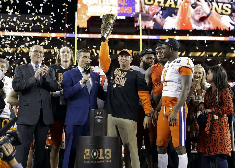 Clemson head coach Dabo Swinney celebrates after the NCAA college football playoff championship game against Alabama, Monday, Jan. 7, 2019, in Santa Clara, Calif. Clemson beat Alabama 44-16. (AP Photo/David J. Phillip) Photo: David J. Phillip, Associated Press