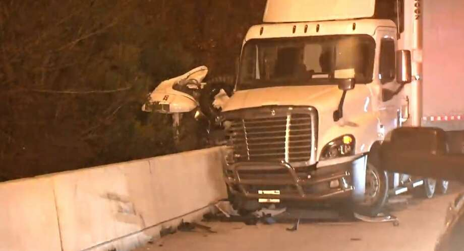 A man was flown to the hospital after a wreck on I-10 near Barker Cypress on Tuesday, Jan. 8, 2019. Photo: Metro Video